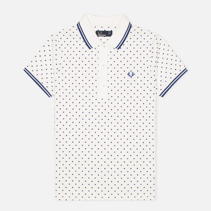 Женское поло Fred Perry Twin Tipped Polka Dot Pique Snow White