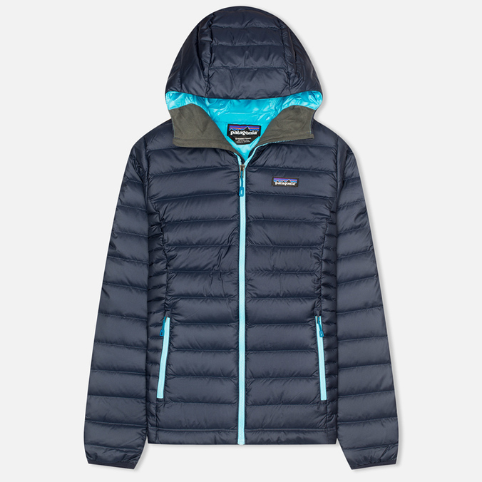 Patagonia Down Sweater Hoody Women's Padded Jacket Navy Blue