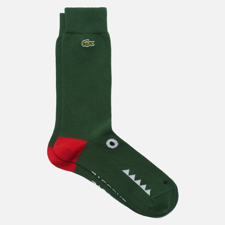 Носки Lacoste Crocodile Long Organic Cotton, цвет зелёный, размер 36-40 EU