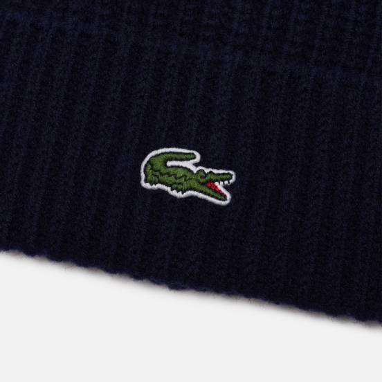 Шапка Lacoste Ribbed Wool Blend Beanie Navy Blue/Navy Blue