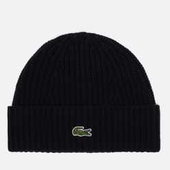 Шапка Lacoste Ribbed Wool Blend Beanie Black