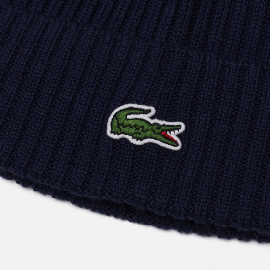 Шапка Lacoste Ribbed Wool Navy Blue
