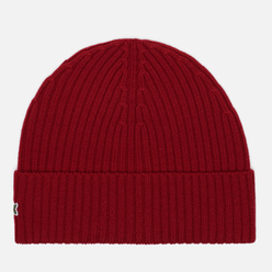 Шапка Lacoste Ribbed Wool Bordeaux