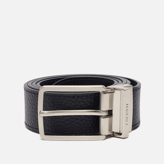 Ремень Lacoste Engraved Buckle Grained Leather Black