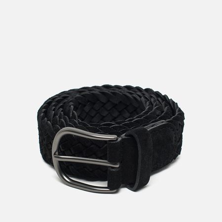 Anderon's Classic Woven Leather Suede Belt Black