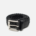 Ремень Anderson's Classic Woven Calf Leather Black фото- 0