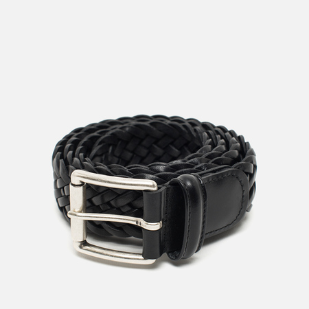 Anderson's Classic Woven Calf Leather Belt Black