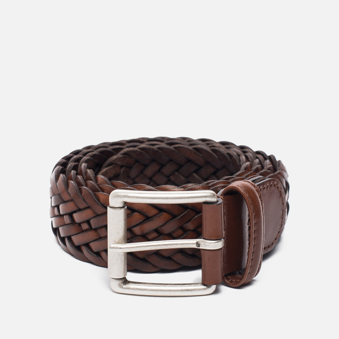 Ремень Anderson's Classic Woven Calf Leather Brown