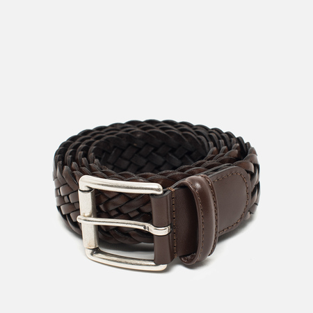 Anderson's Classic Woven Calf Leather Belt Dark Brown