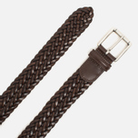 Ремень Anderson's Classic Woven Calf Leather Dark Brown фото- 1