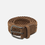 Anderson's Classic Woven Leather Suede Belt Brown photo- 0