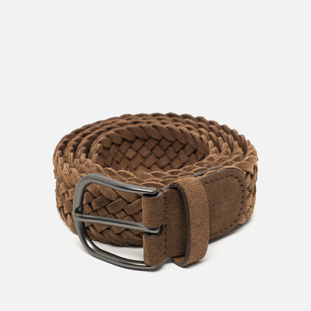 Anderson's Classic Woven Leather Suede Belt Brown