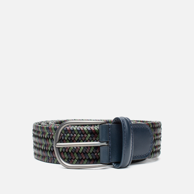 Ремень Anderson's Classic Woven Multicolor Leather Green/Navy/Brown