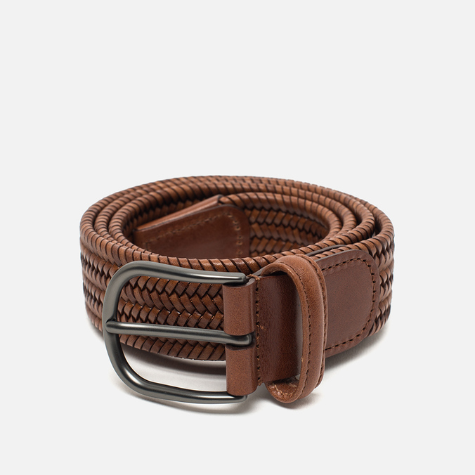 Anderson's Classic Woven Stretch Leather Belt Brown