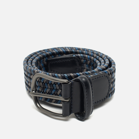 Anderson's Classic Woven Stretch Leather Belt Multicolor Grey/Navy/Blue