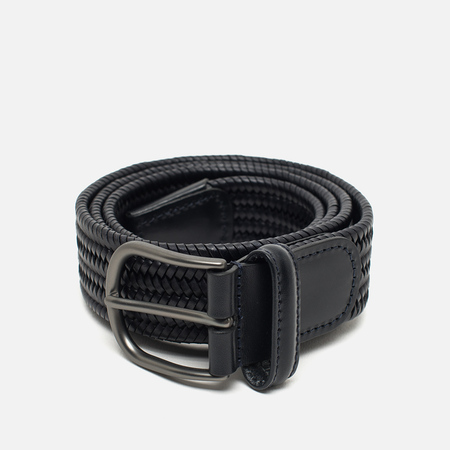 Anderson's Classic Woven Stretch Leather Belt Navy