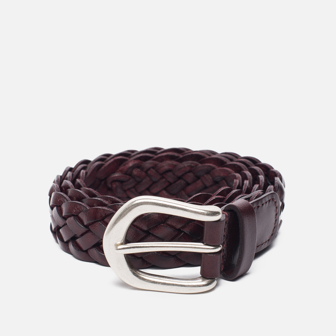 Ремень Anderson's Leather Woven Burgundy