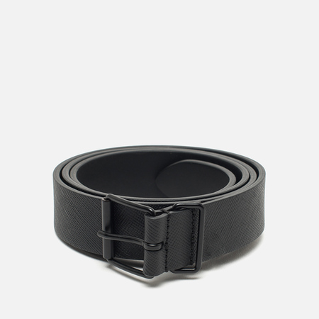 Andreson's Classic Calf Leather Ribbed Belt Black