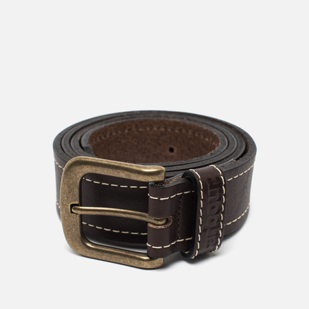 Barbour Striched Leather Belt Brown