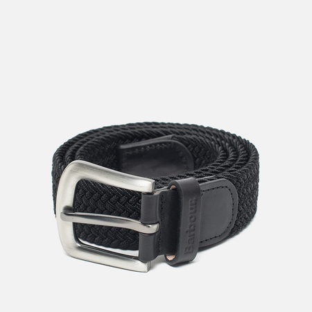 Ремень Barbour Stretch Webbing Leather Black