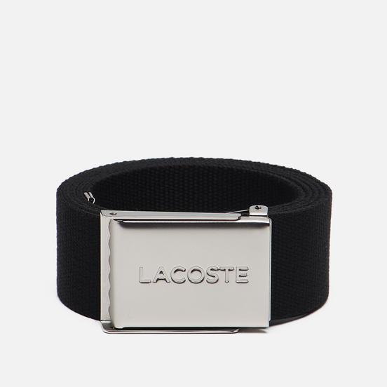 Ремень Lacoste Engraved Buckle Woven Black