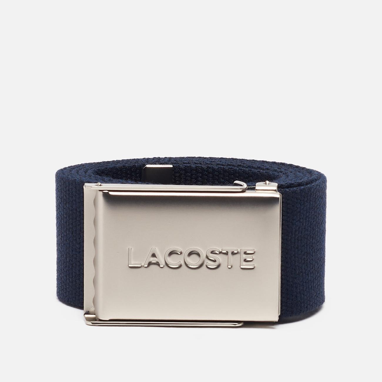 Ремень Lacoste Engraved Buckle Woven Navy Blue