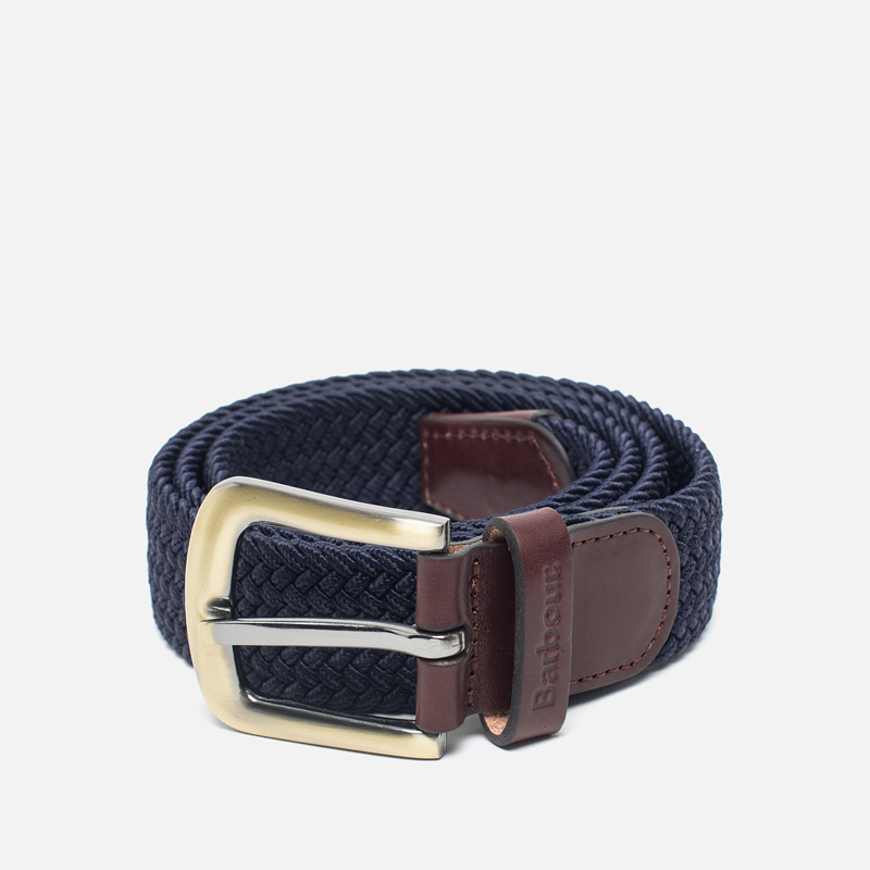 Ремень Barbour Stretch Webbing Leather Navy