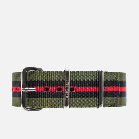 Briston NS20.GCV Watch strap Green/Black/Red
