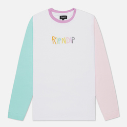 Мужской лонгслив RIPNDIP Embroidered Logo White/Pink/Turquoise