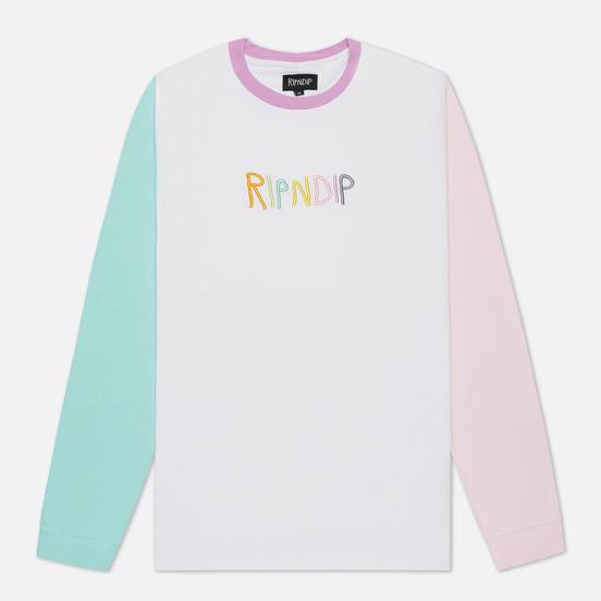 Мужской лонгслив RIPNDIP Embroidered Logo White/Pink/Turquoise