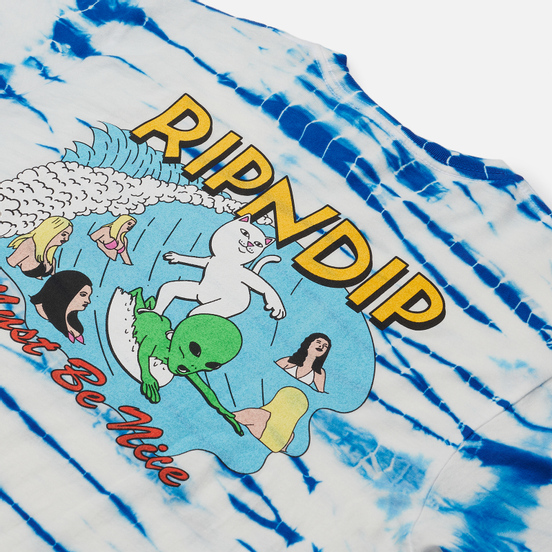 Мужская футболка RIPNDIP Hang 10 Blue/White Stripe Dye