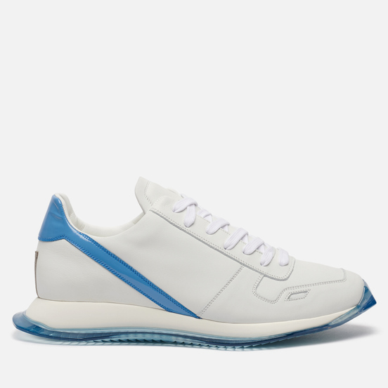 Мужские кроссовки Rick Owens Performa Runner Lace Up Chalk White/Nubuk Blue/White/Nubuk Blue Transparent