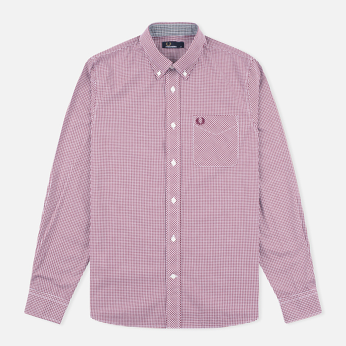 Fred Perry Classic Gingham Men's Shirt Mahogany