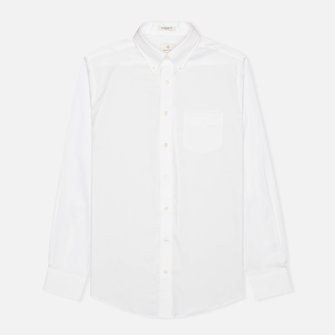 Мужская рубашка Gant Diamond G The Pin Point Oxford LS BD White