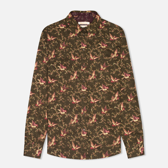 Женская рубашка Barbour Fell Olive Bird Print