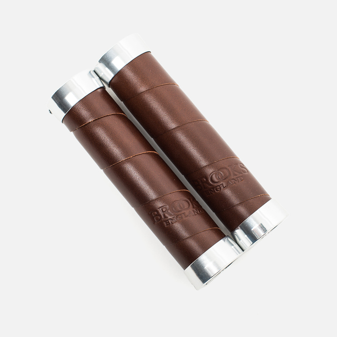 Brooks England Slender Leather Grips Brown 130mm
