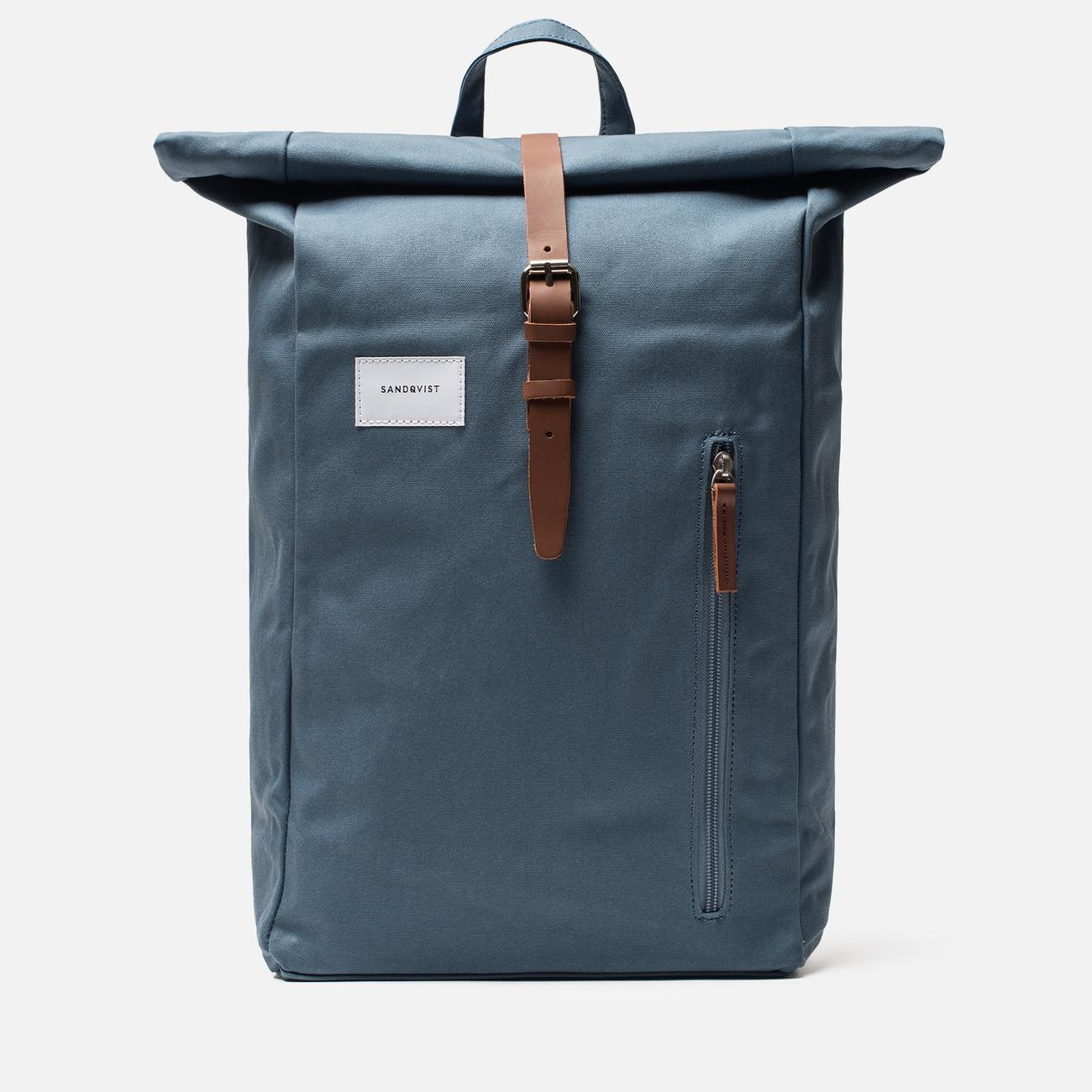 Рюкзак Sandqvist Dante Dusty Blue/Cognac Brown Leather