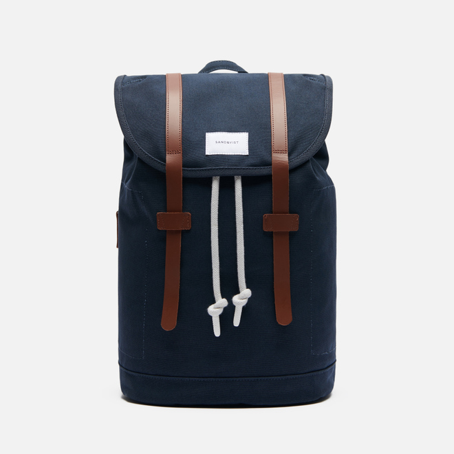 Рюкзак Sandqvist Stig Large 20L Navy/Cognac Brown Leather