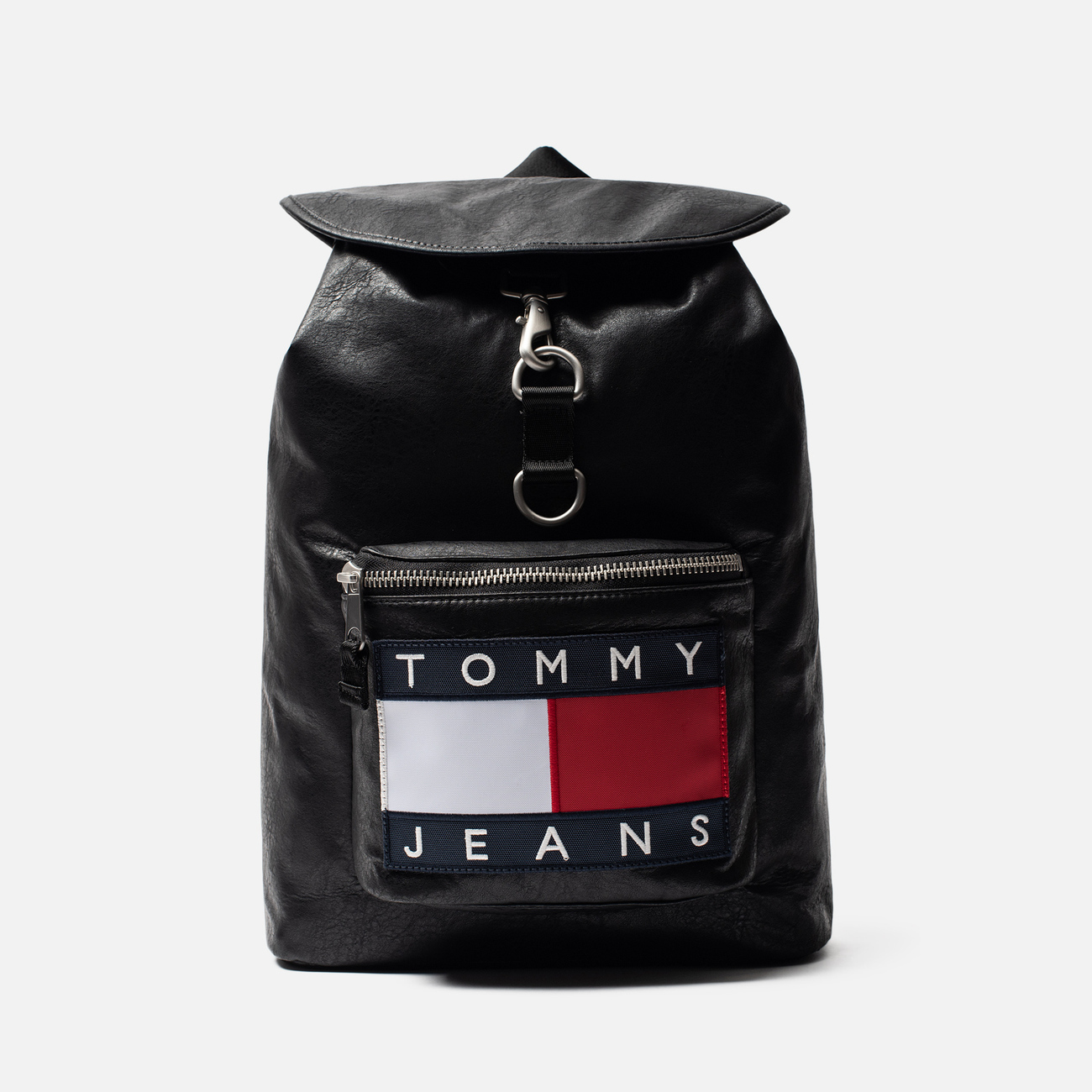 Рюкзак Tommy Jeans Heritage Leather Large Flag Black
