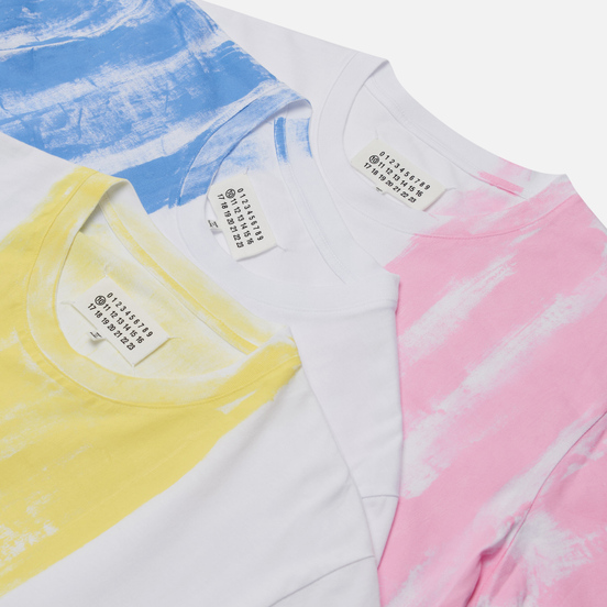 Комплект мужских футболок Maison Margiela 3-Pack Colour Block White/Blue/Yellow/Pink