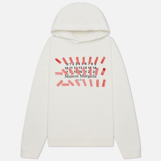 Мужская толстовка Maison Margiela Tape Print Oversized Hoodie Off White
