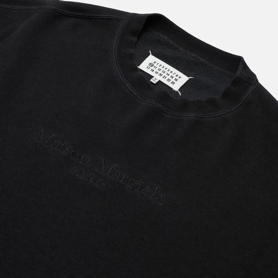 Мужская толстовка Maison Margiela Classic Embroidered Text Logo Crew Neck Black