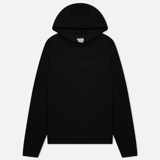 Мужская толстовка Maison Margiela Classic Embroidered Text Logo Hoodie Black