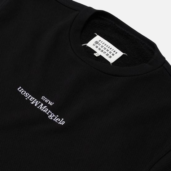 Мужская толстовка Maison Margiela Embroidered Text Logo Crew Neck Black