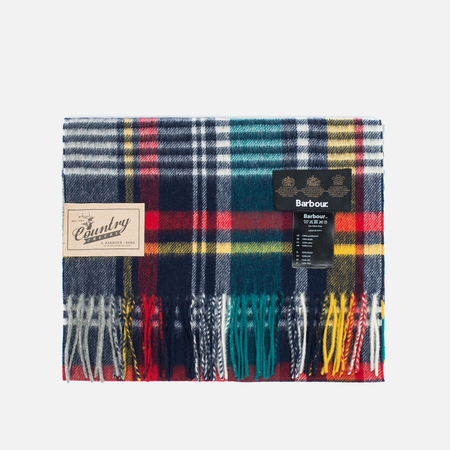 Barbour Bright Country Plaid Scarf Navy