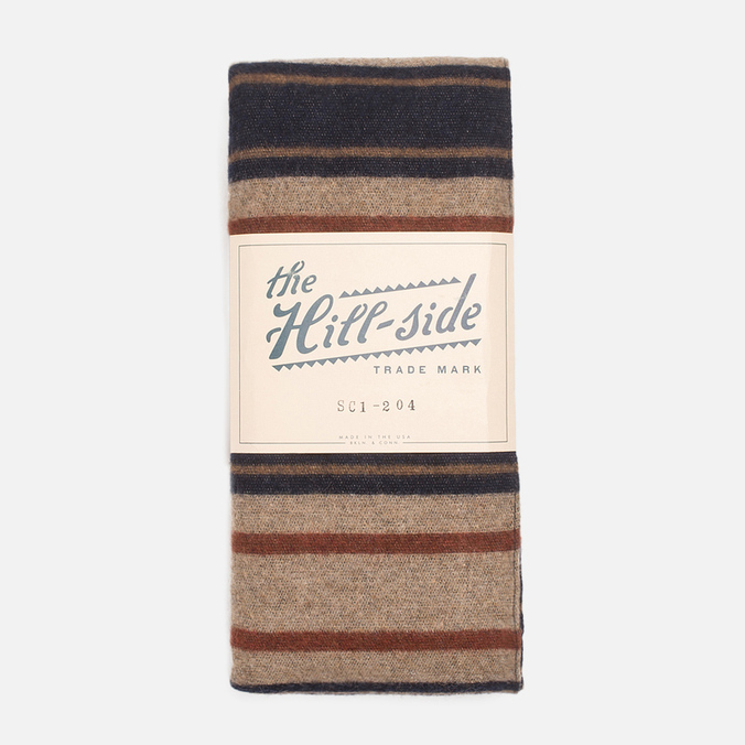 Шарф The Hill-Side Wool Blend Stripe Tan/Navy