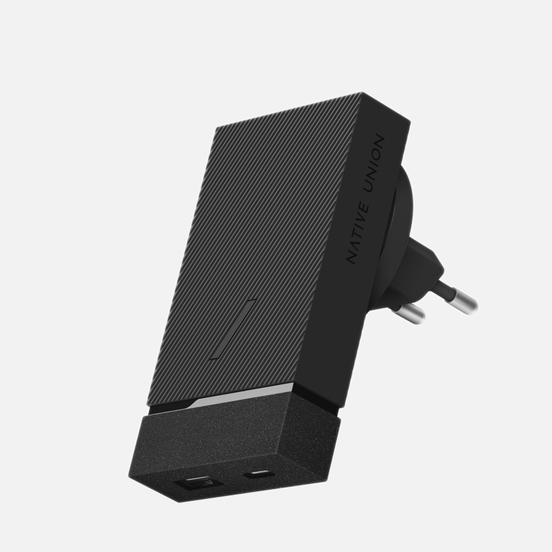 Сетевое зарядное устройство Native Union Smart Charger 2 Port USB-A/USB-C Grey