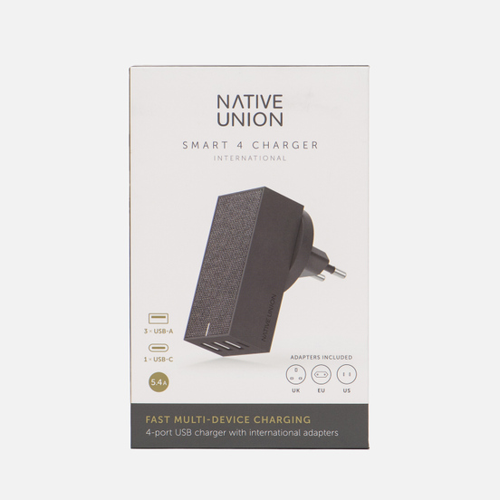 Сетевое зарядное устройство Native Union Smart Charger 4 Port USB/USB Type-C 5.4A Grey