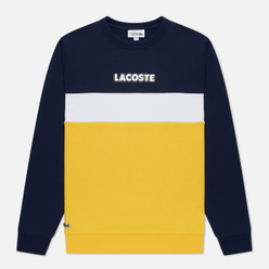 Мужская толстовка Lacoste Sport Crew Neck Colourblock Fleece Navy Blue/Yellow/White