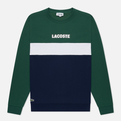 Мужская толстовка Lacoste Sport Crew Neck Colourblock Fleece Green/Navy Blue/White